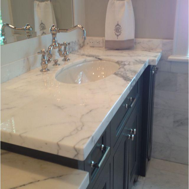 Beautiful Bathrooms 2017: Marble Counters With Dark Gray Vanity