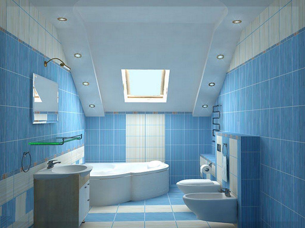 Badezimmer Blau Weiss