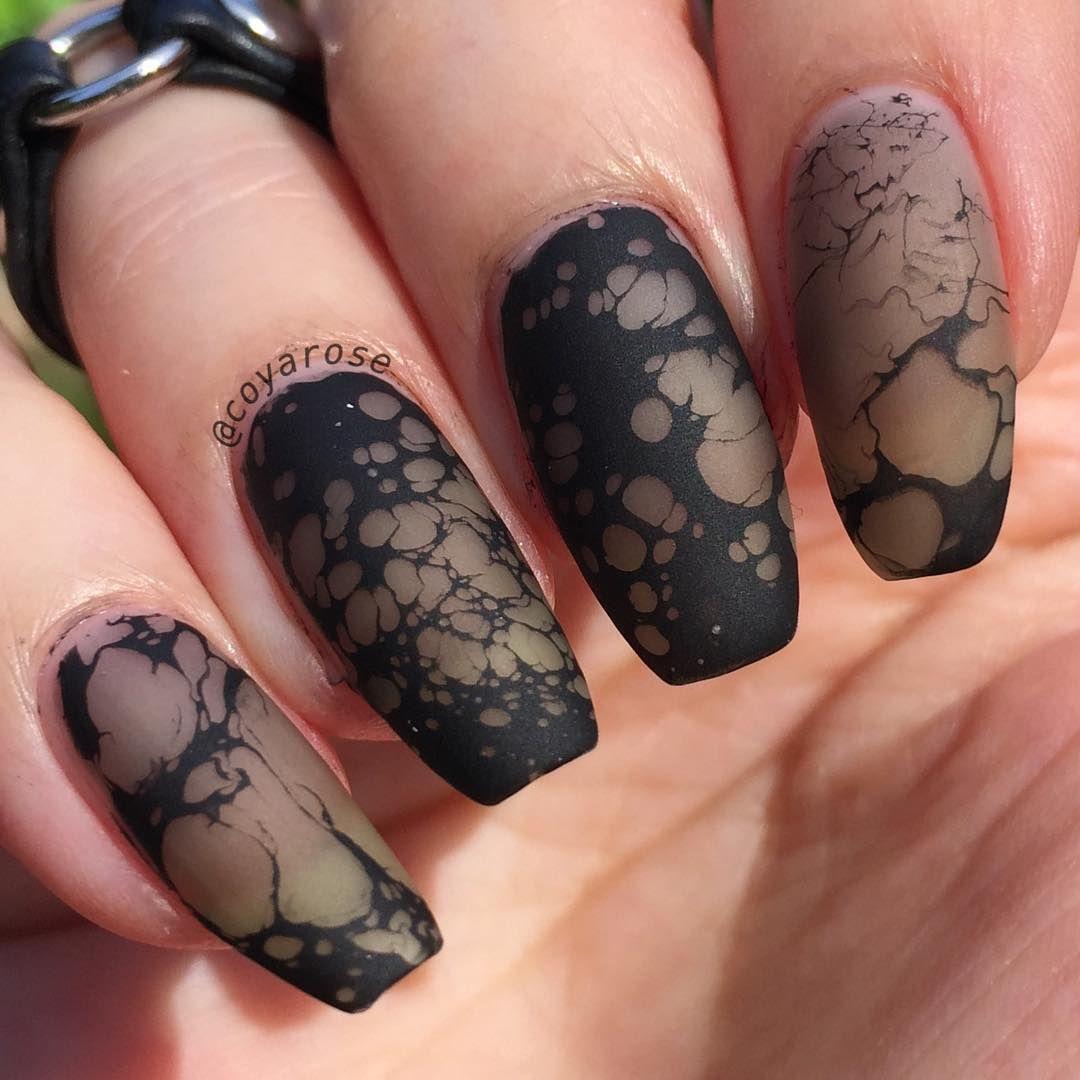 Sheer Black Negative Space Marble Waterspot Nails Nail Art Nail