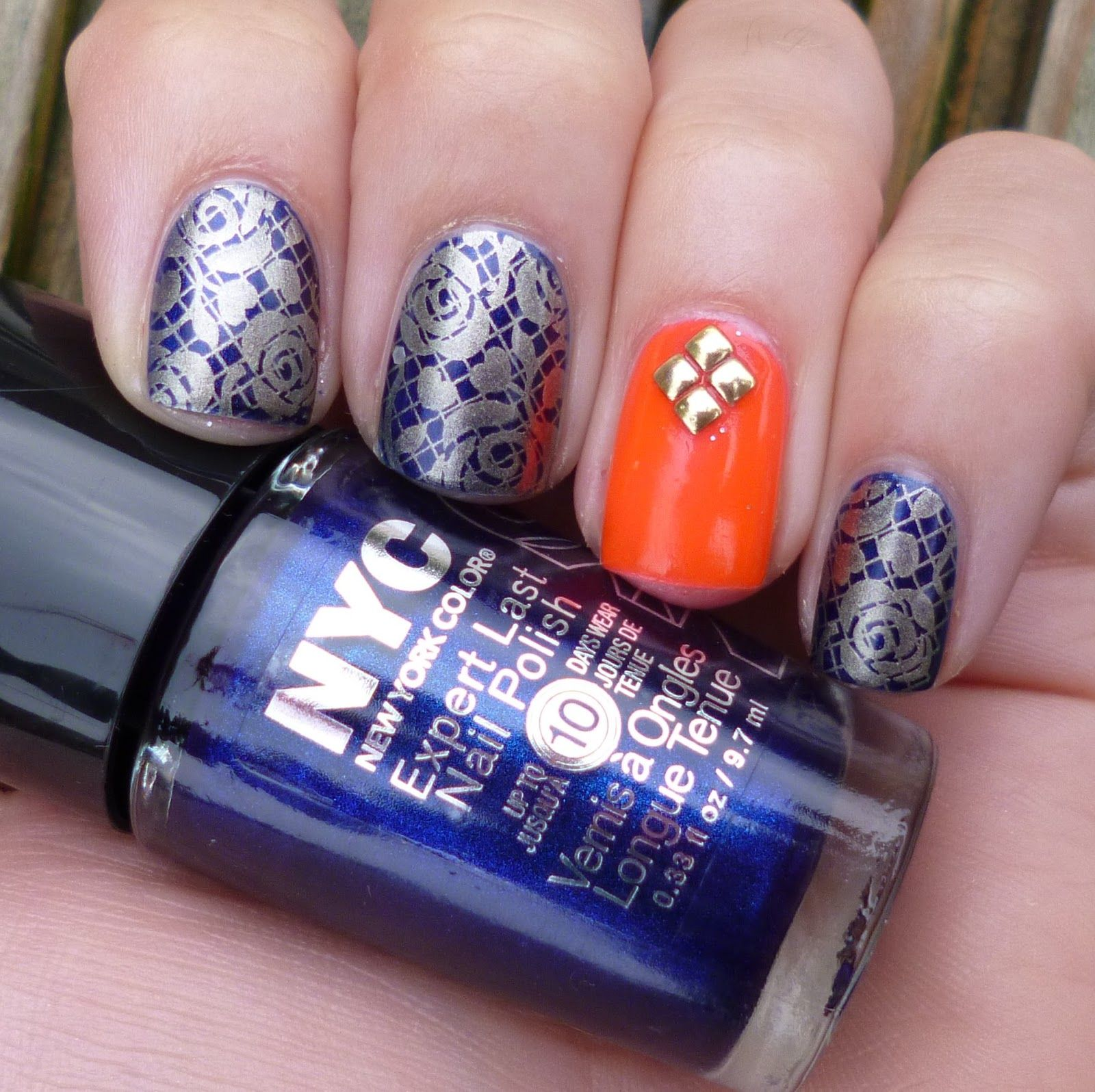 Instagram Navy And Orange Nail Art Google Search All Things