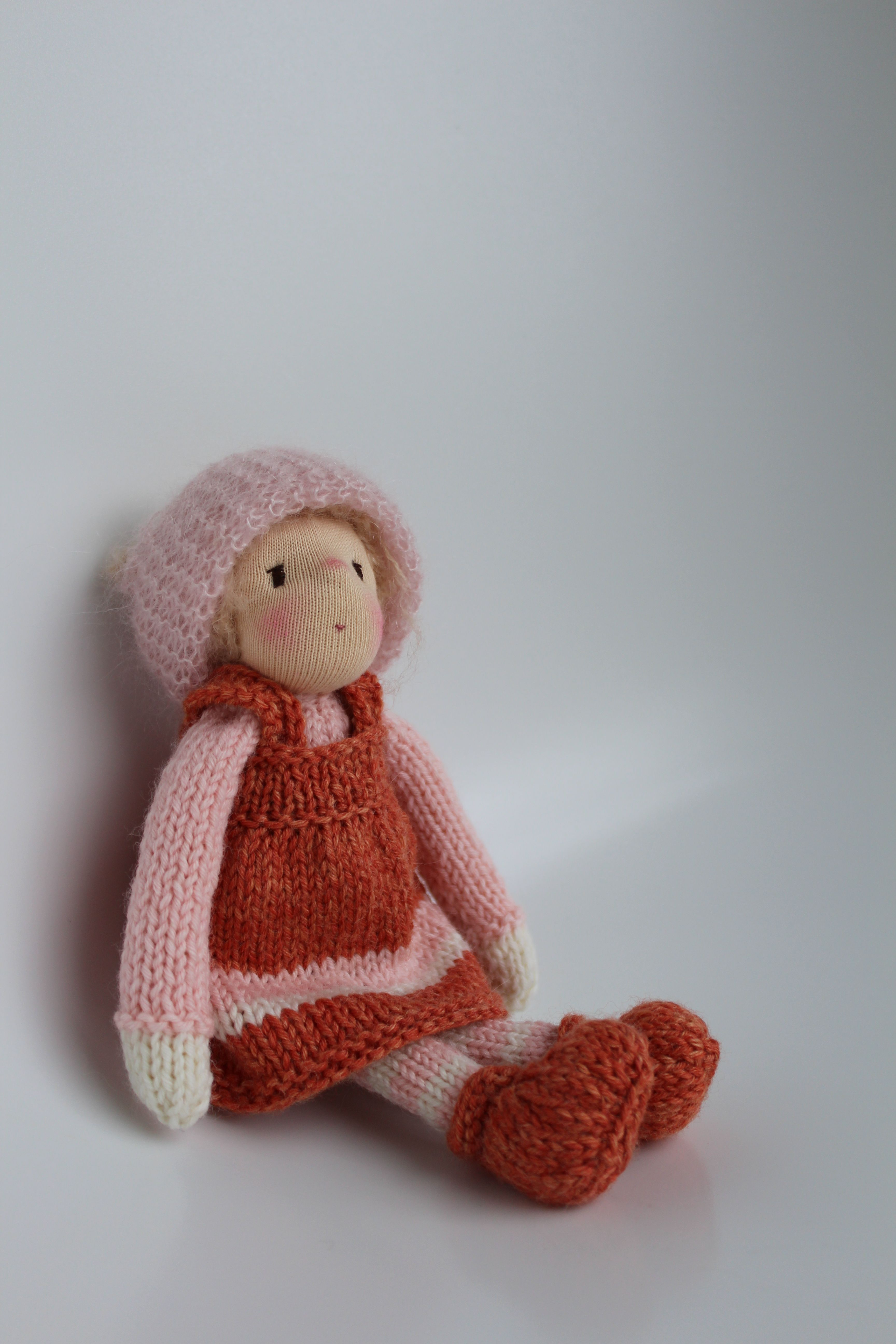 Maja. A little knitted doll (20 cm) in Waldorf style. Made of soft merinowool, silk and mohair yarns and Swiss cotton interlock.