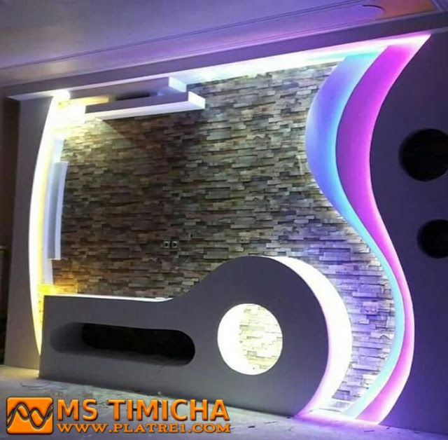 Decoration Platre Moderne Pour Plasma Tv Decoration Platre Decoration Meuble Tv Idees Faux Plafond