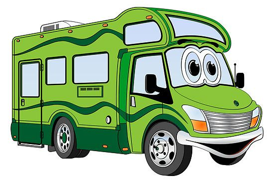 All Green Camper Cartoon By Graphxpro Rv Pictures Class C