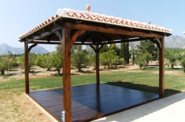 Solid Pergola With Pitched Tile Roof Outdoors In 2019