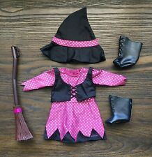 American Girl Doll Retired Halloween Witch Costume w/Hat Dress Broom  Boots #broomdolls