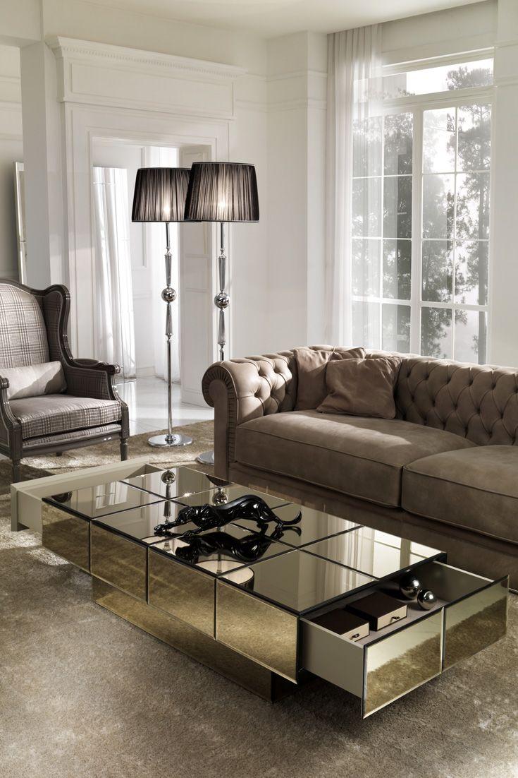 Italian Designer Bronze Glass Storage Coffee Table Centre Table