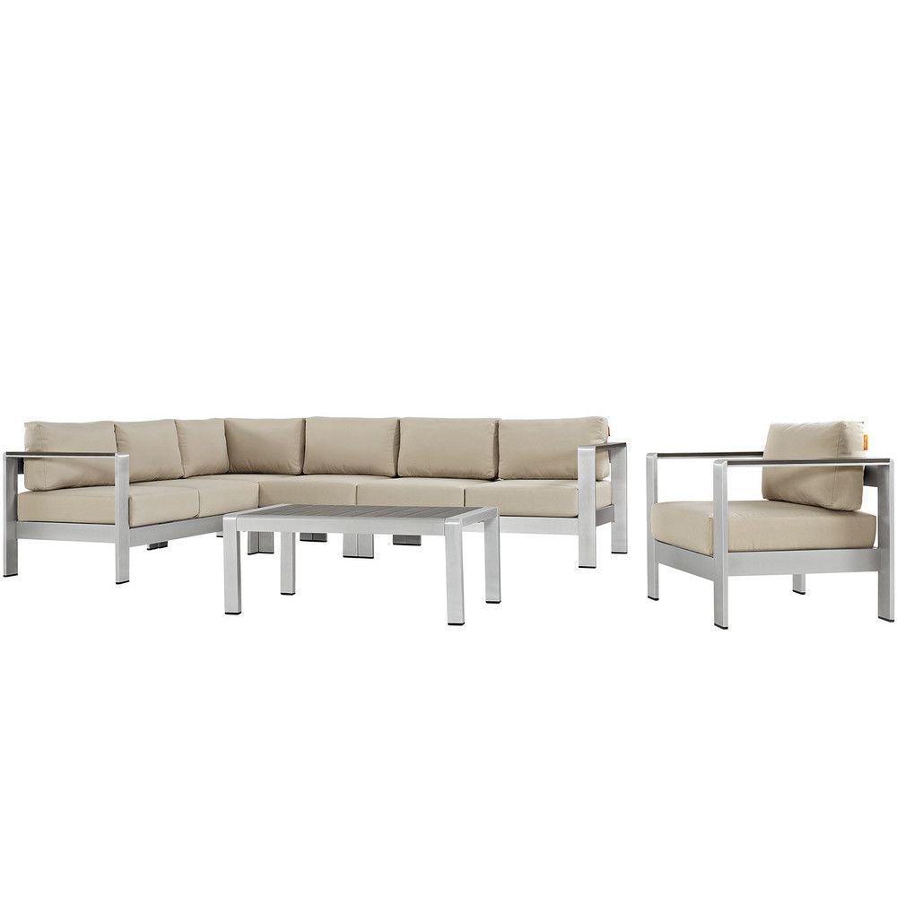 Shore piece outdoor patio aluminum sectional sofa set sofa set