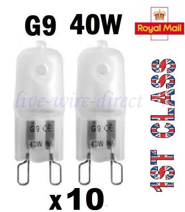 10 x G9 Halogen Light Bulbs Frosted Capsule 240V 40W Watt ...
