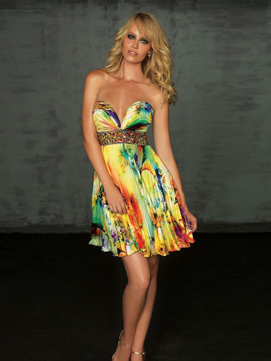 Short Strapless Print Dresses
