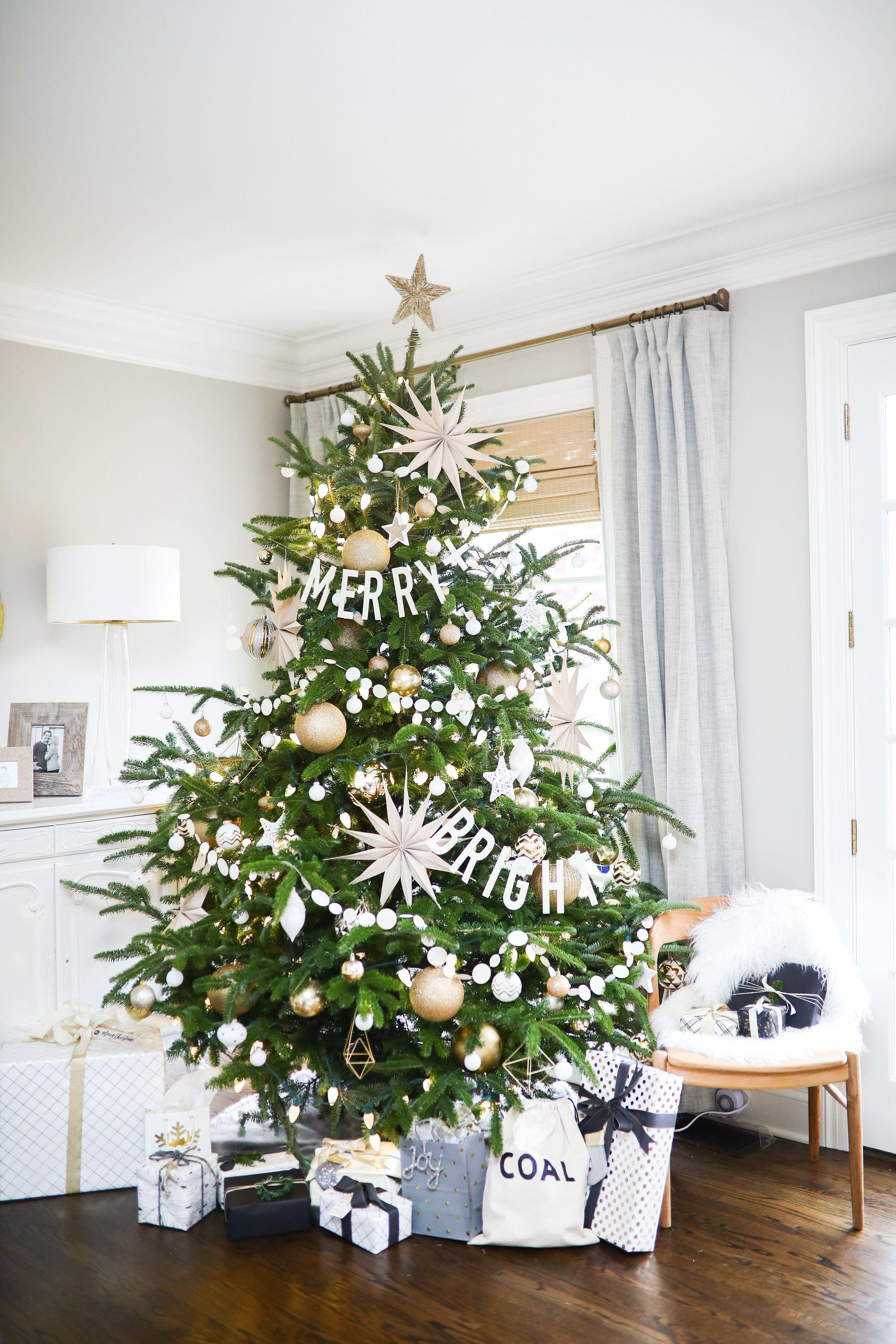 My White And Gold Christmas Home Tour Minimalist Christmas Tree Gold Christmas Decorations Minimalist Christmas
