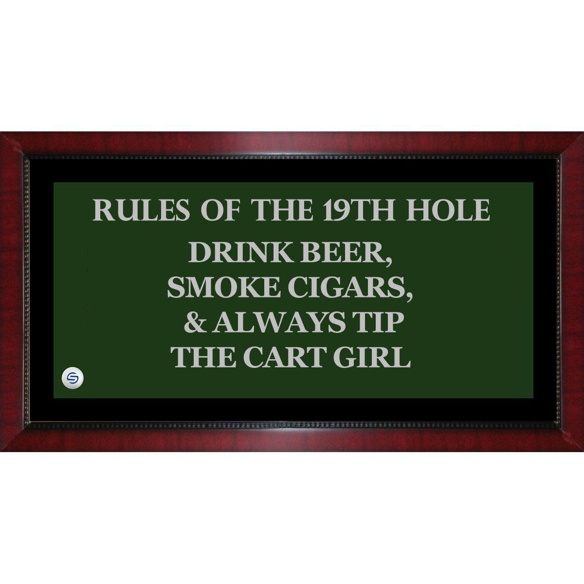 Rules of the 19th Hole Framed 9.5x19 Sign Uns | P RESTAURANT GK ...