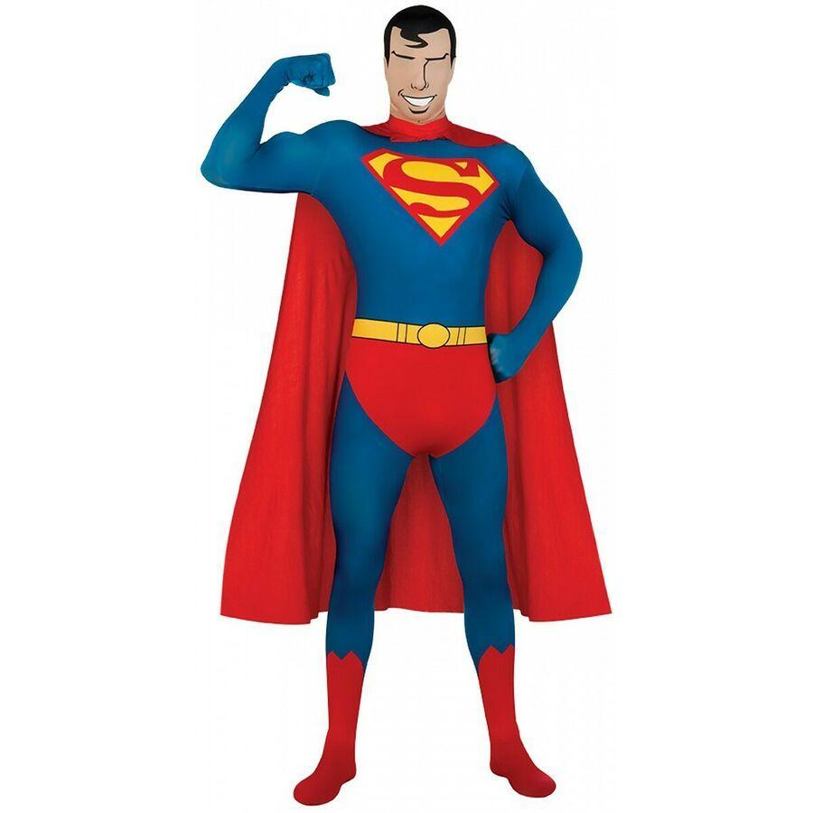 Mens  Batman 2nd Skin Superhero Full Bodysuit Lycra Adult Fancy Dress Costume