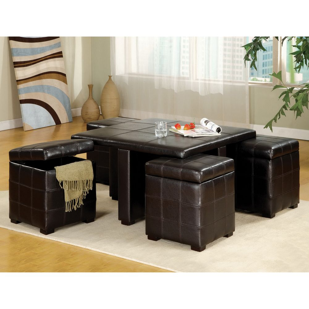 Furniture of America Espresso 5-piece Cocktail Table and Ottoman Set ...