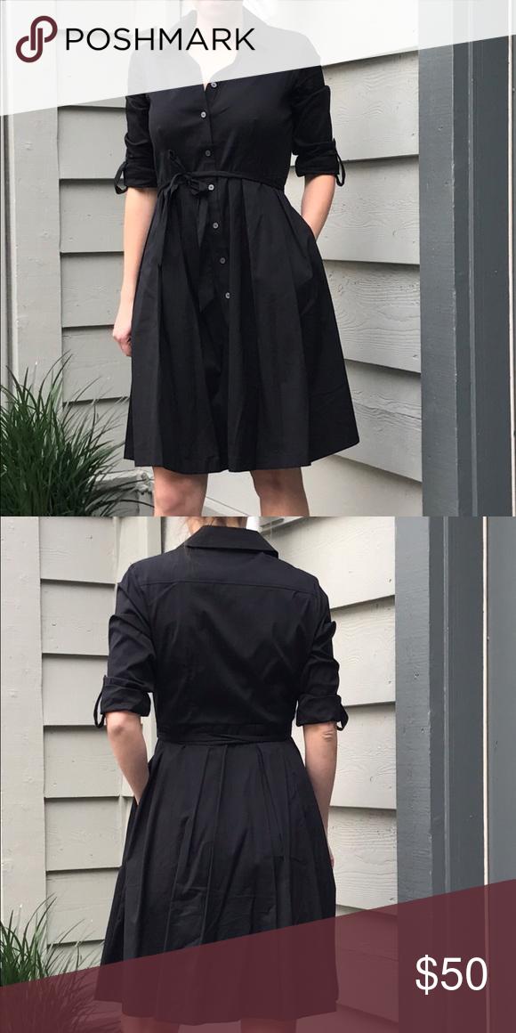 New black shirt dress with belt. Very Mad Men black shirt dress with tags on it. In perfect condition! Cotton/nylon/spandex blend. Charter Club Dresses