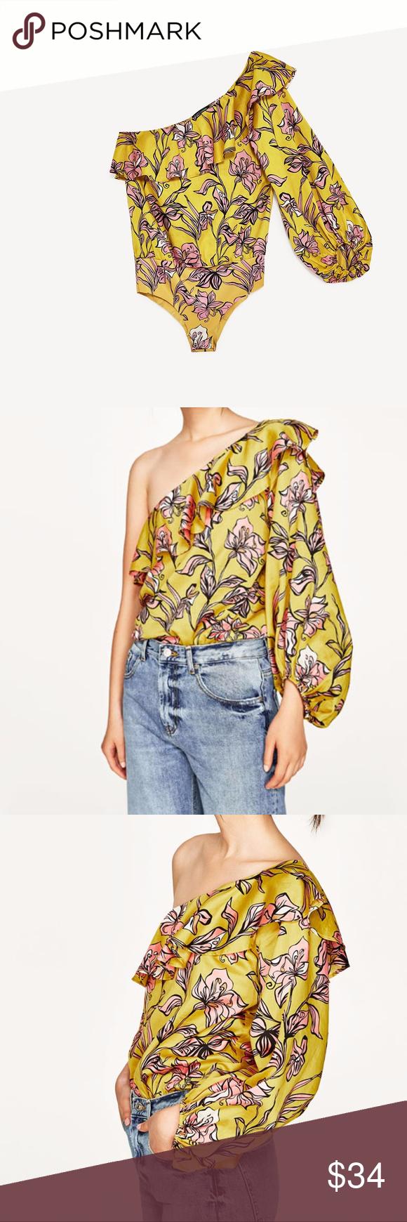 720206c5 Zara Yellow Floral Bodysuit ZARA WOMEN NEW COLLECTION!! SS17 ASYMMETRIC  SLEEVE BODYSUIT 5580/