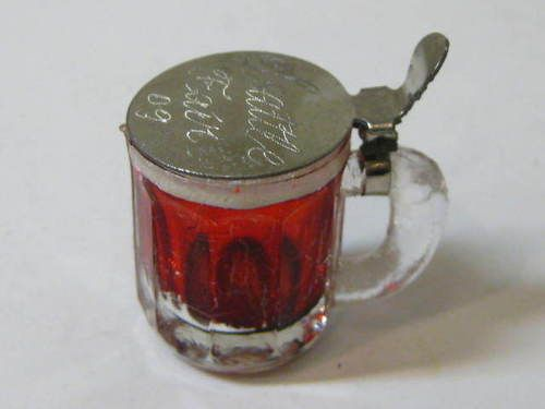 1909 Miniature Engraved AYP Seattle Fair Souvenir Glass Beer Mug