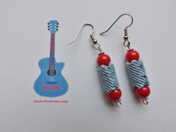 Denim Bead Earrings with glass beads upcycled by NashvilleDenim, $8.99