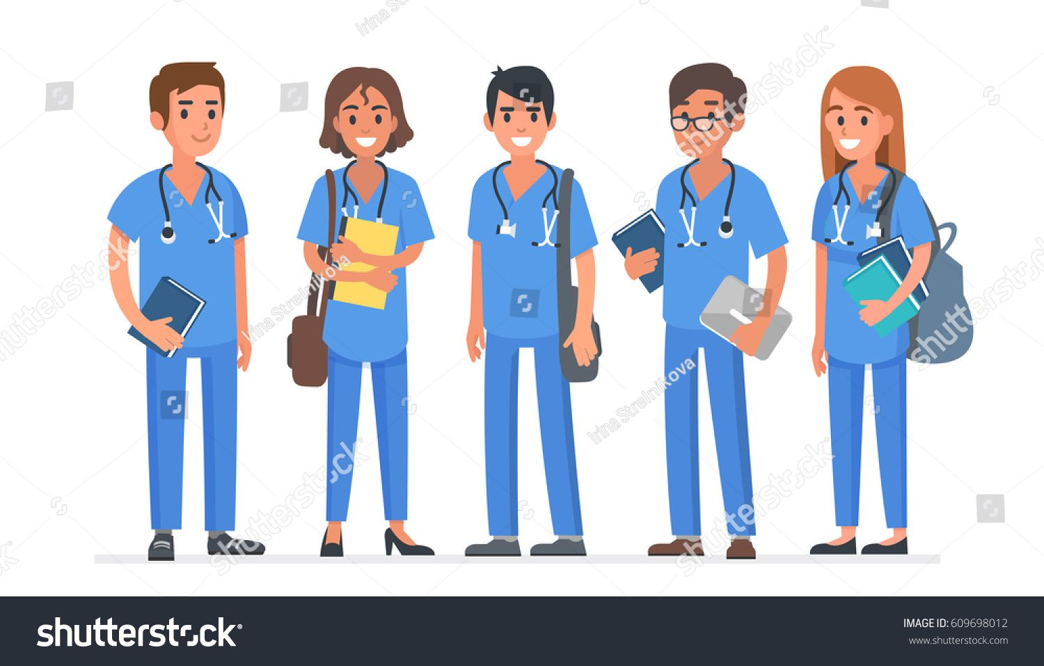 Group of young medical students. Students team. Vector