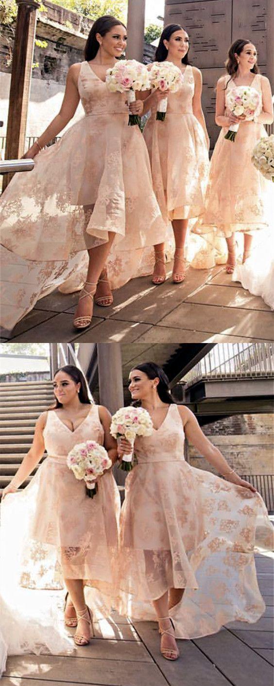 Elegant vneck lace bridesmaid dresses front short long back prom