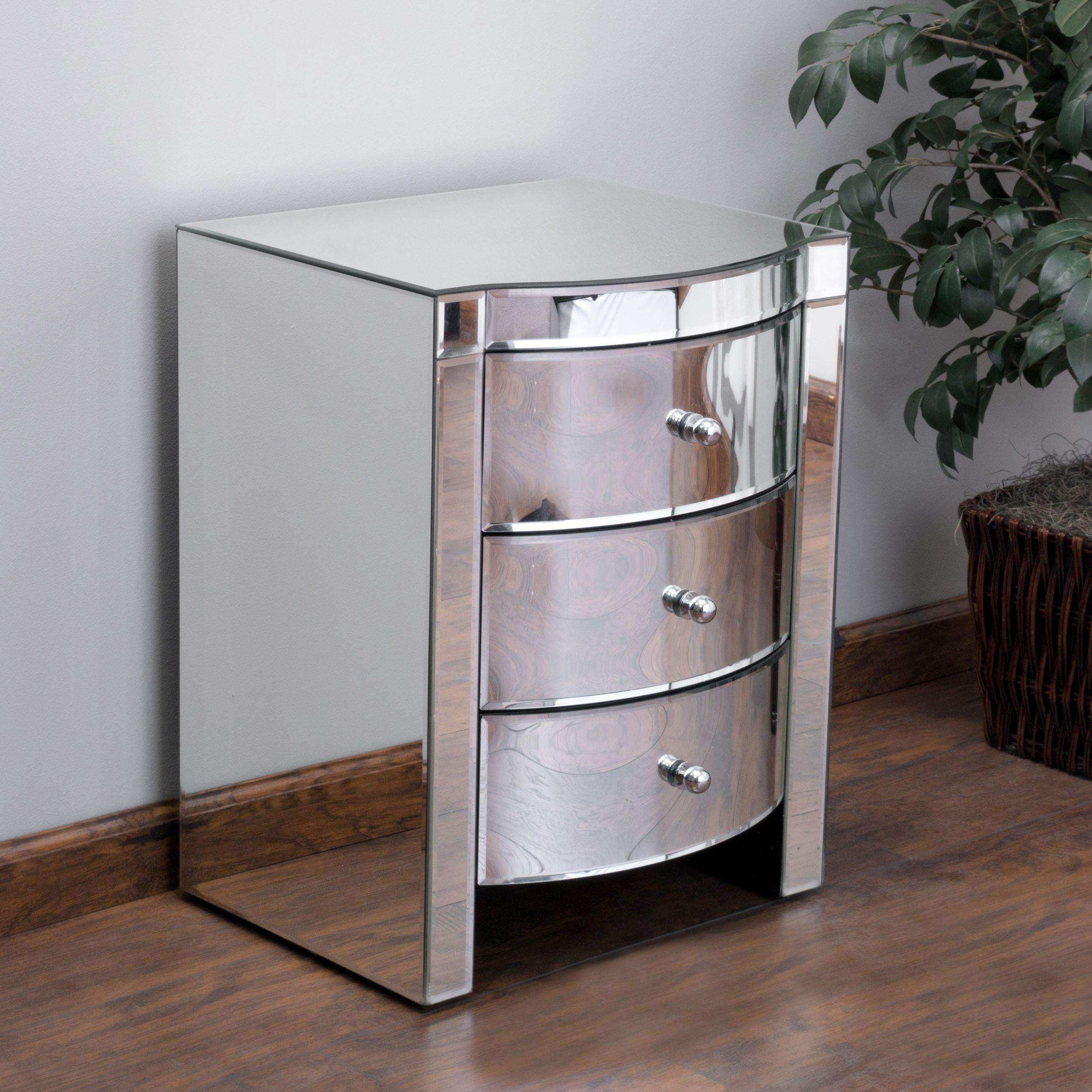 Christopher Knight Home Roxie Mirrored Three Drawer Side Table   Overstock™  Shopping   Great Deals On Christopher Knight Home Coffee, Sofa U0026 End Tables