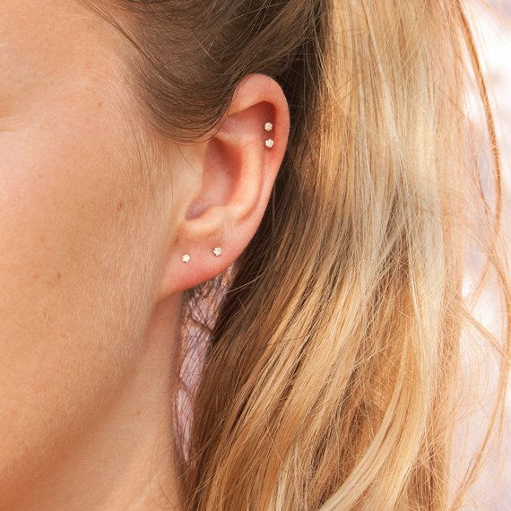 Small Diamond Hoop Earrings Gold Stud Earings Studs