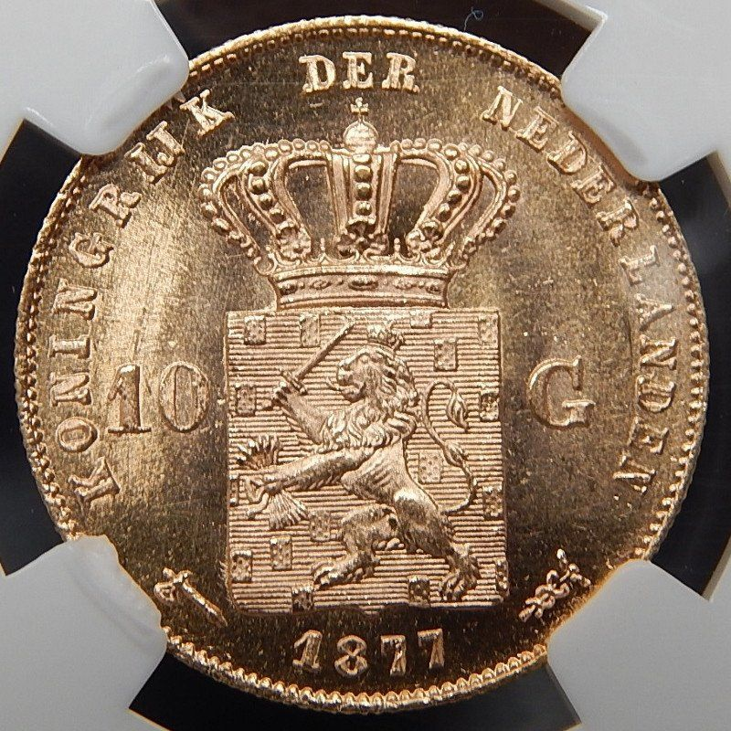 1877 netherland 10 gulden collectible gold coin graded by
