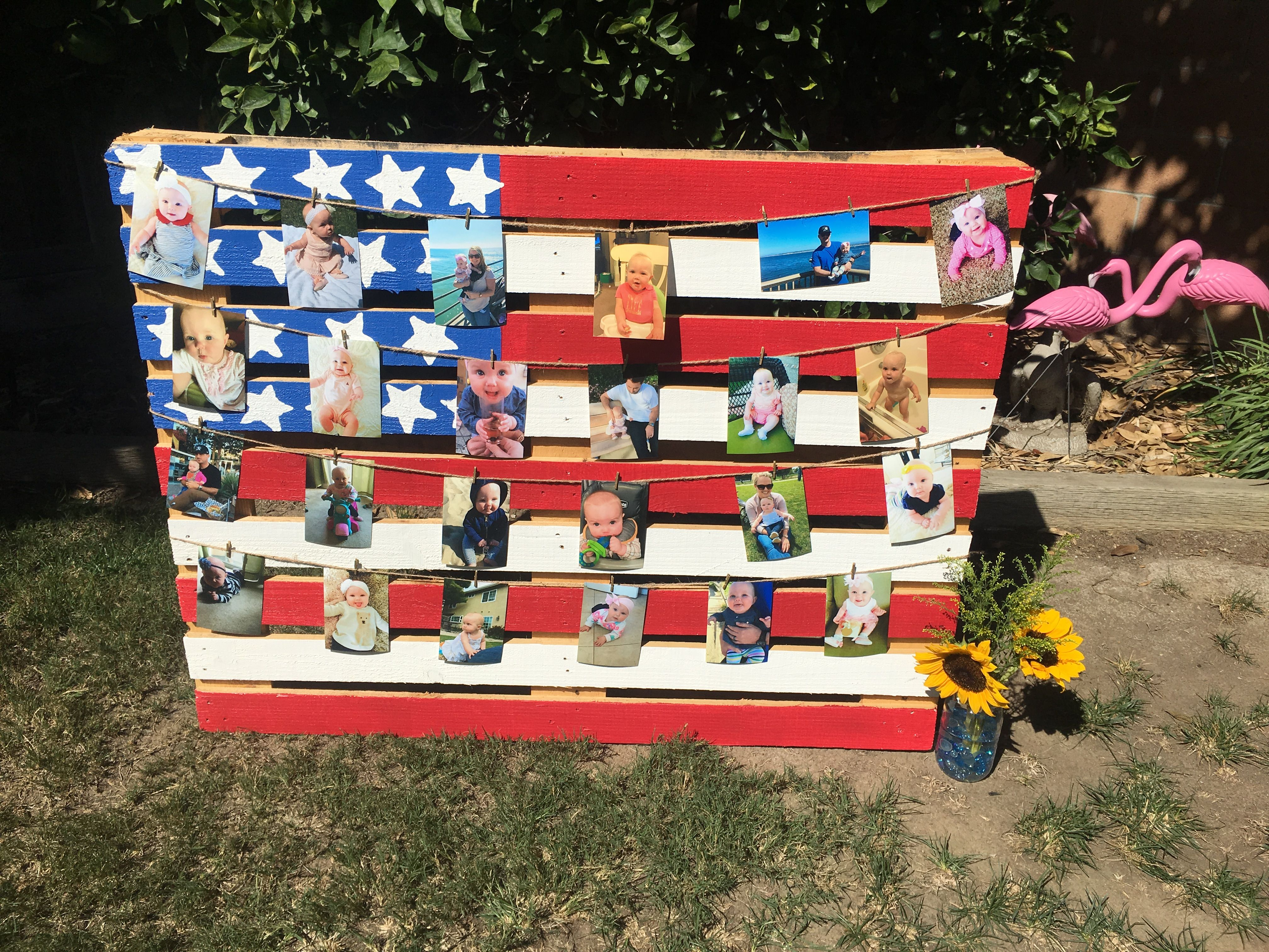 Pallet flag decoration red white and blue Birthday Fourth of