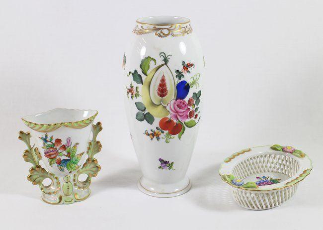 Herend Vases Bowl Lot 59 Zsolnay Fischer Herendi