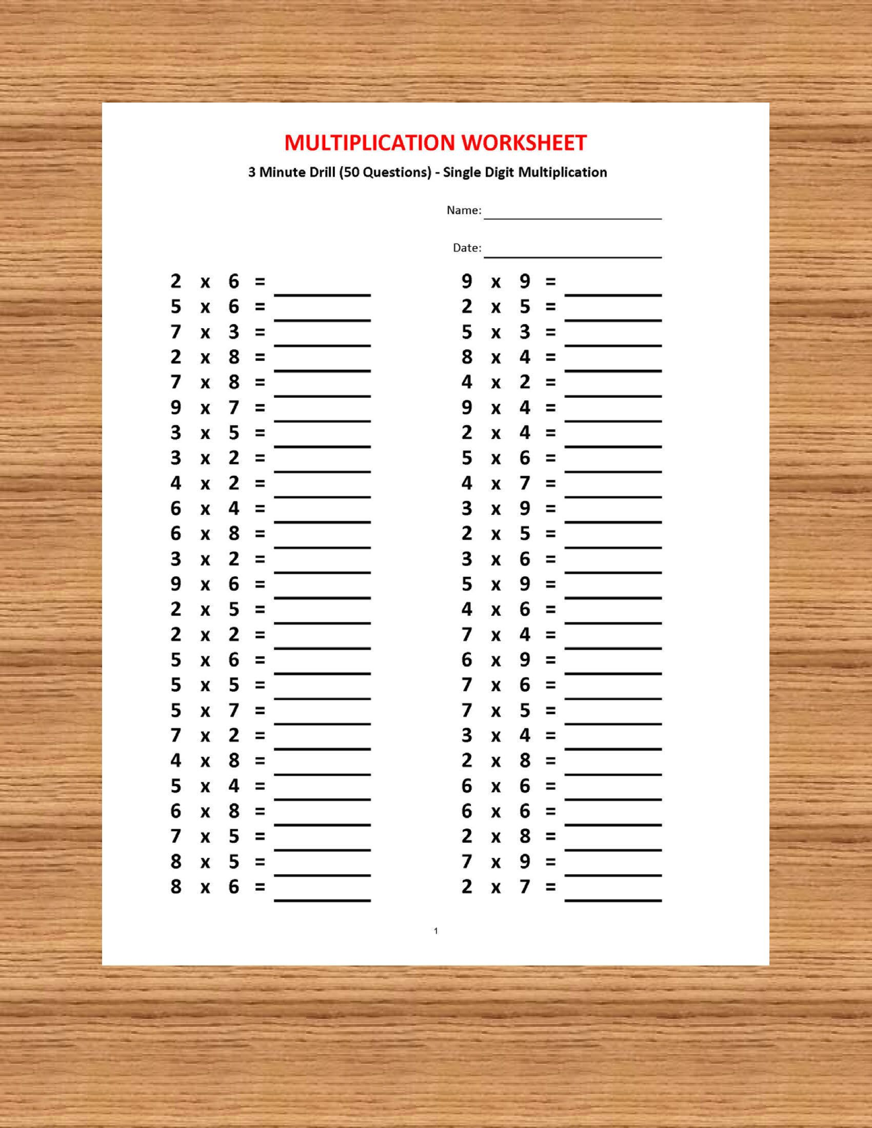 Multiplication 3 Minute Drill H With Answers 10 Sheets