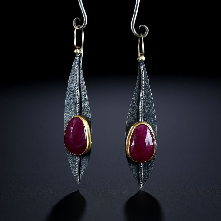Rose Cut Ruby Earring. Fabricated Sterling Silver, 22k and 14k Gold. www.amybuettner.com https://www.facebook.com/pages/Metalsmiths-Amy-Buettner-Tucker-Glasow/101876779907812?ref=hl https://www.etsy.com/people/amybuettner http://instagram.com/amybuettnertuckerglasow