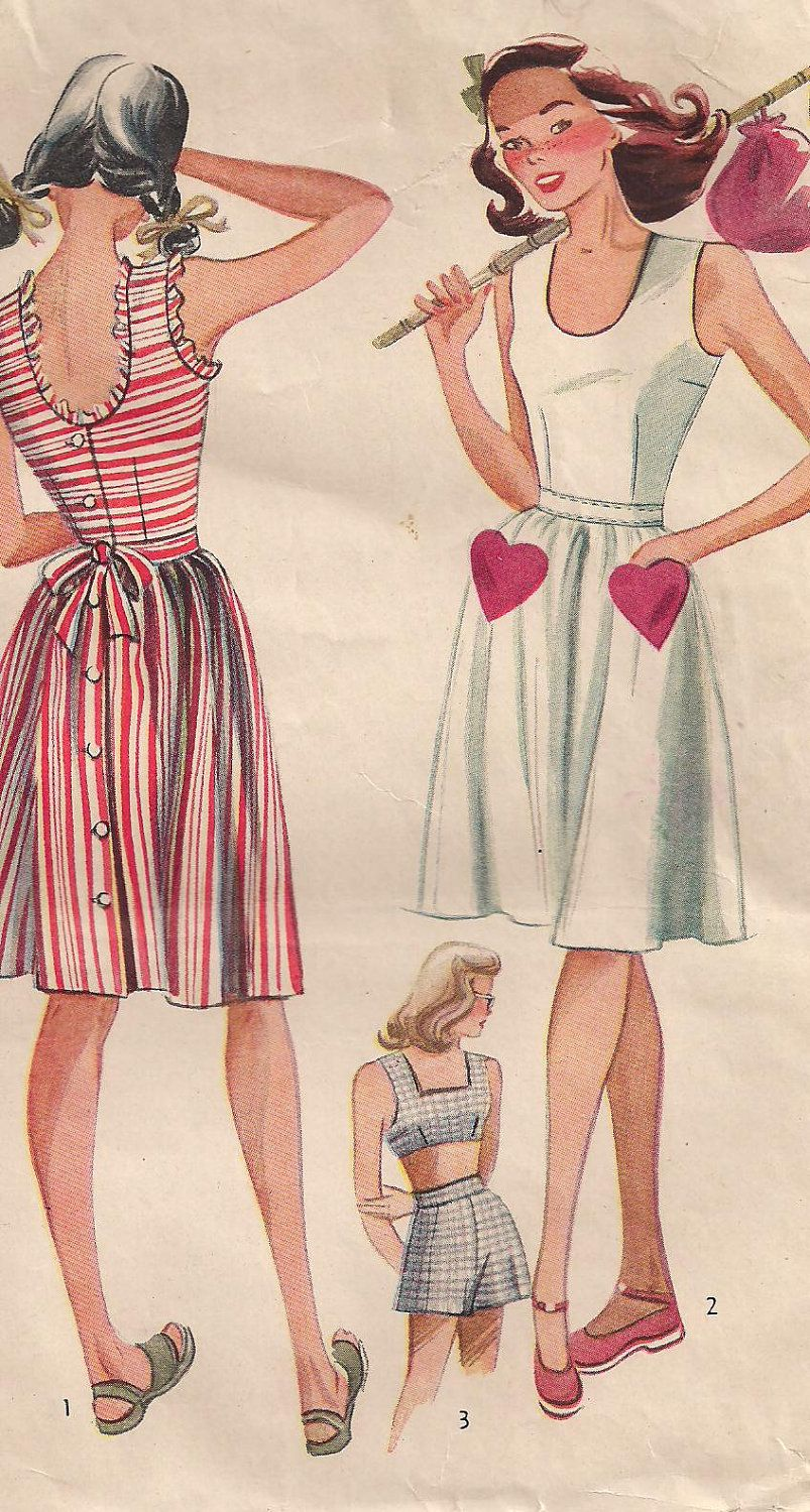 Simplicity vintage ss teenage play suit and sun dress