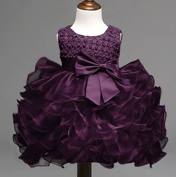 3 6 months purple dress infant baby dress formal wear for girls