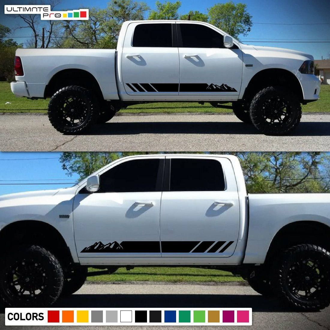 2x Decal Sticker Graphic Side Mountain Stripes Compatible With Diesel Trucks Dodge Ram Trucks