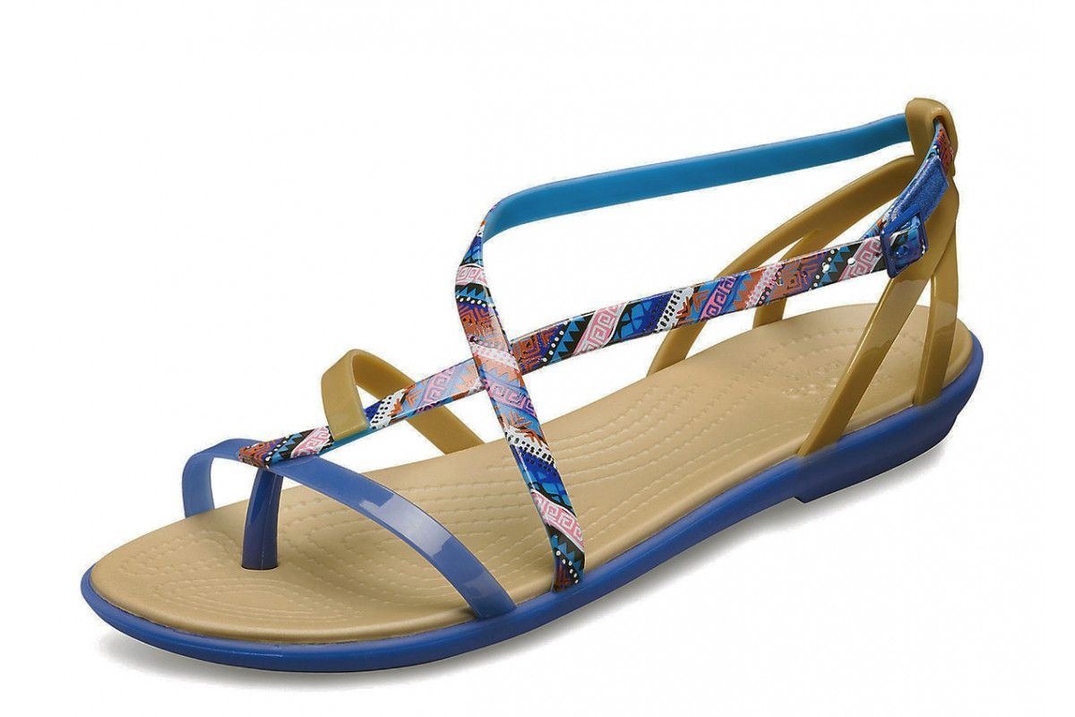 9b4c5645b75 Crocs Isabella Gladiator Graphic Flat Strappy Sandals Blue Jean Gold ...