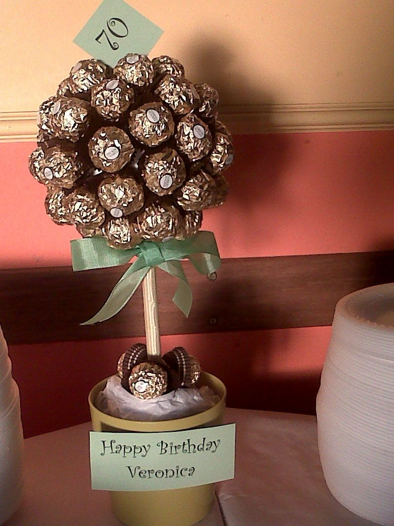 Ferrero rocher tree for a 70th birthday party 70th for 70th decoration ideas