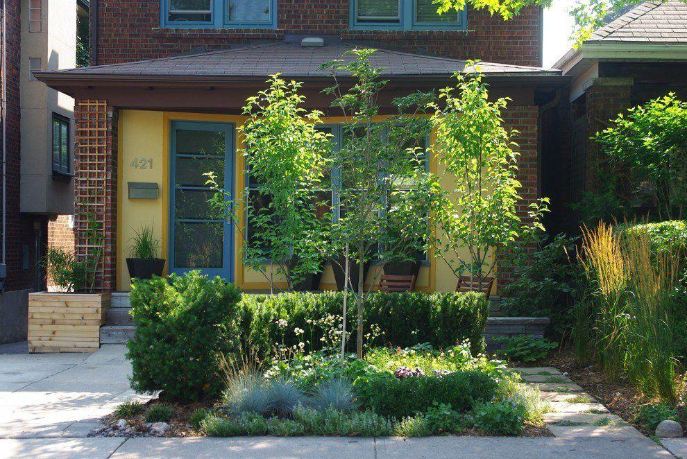 gartengestaltung gelbe fassade bäume im garten | garden_home, Garten ideen