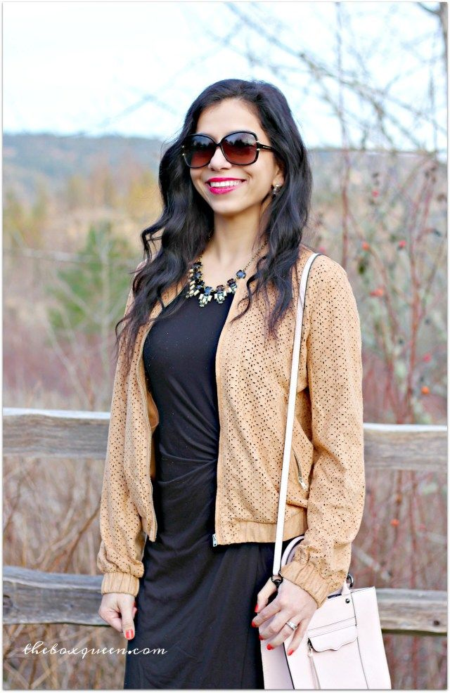 Laser Cute Bomber Jacket | Golden Tote Review | Spring Dress | Spring Fashion | Spring Style | Style Trends