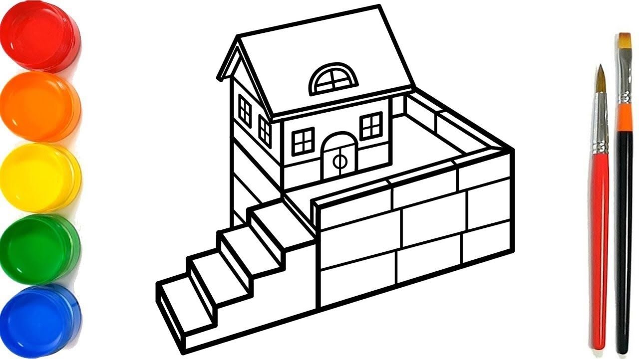 Glitter House And Stair 3D Coloring Pages For Kids