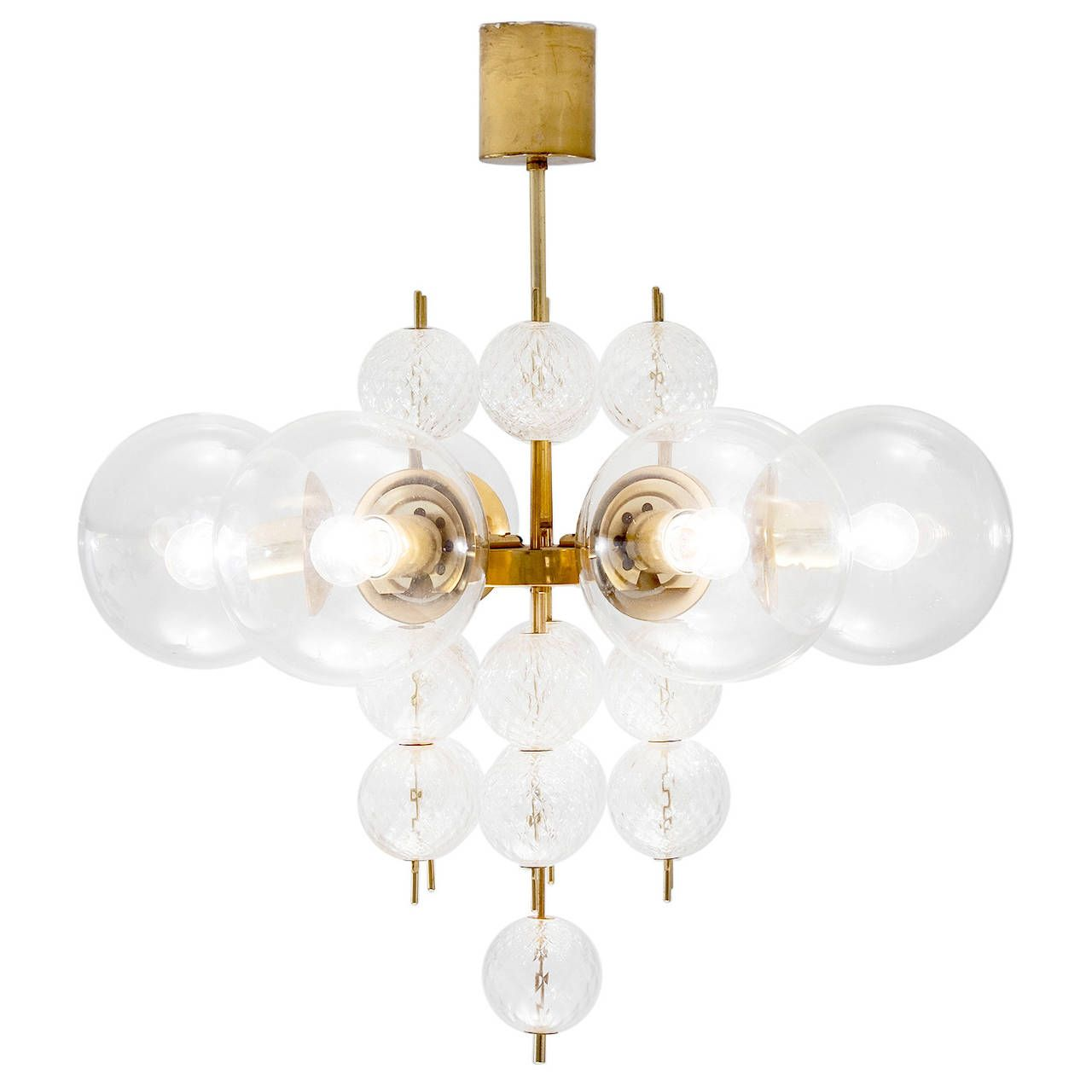 Large Chandelier with Brass and Glass Bulbs | Large chandeliers ...