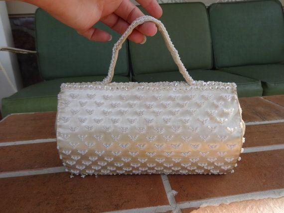 vintage clutch handbag wedding bridal 194050's by vintagerose1234