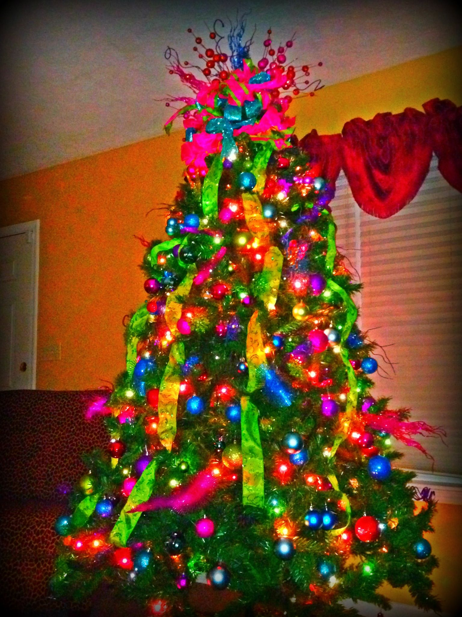 Christmas tree with bright colors for the home