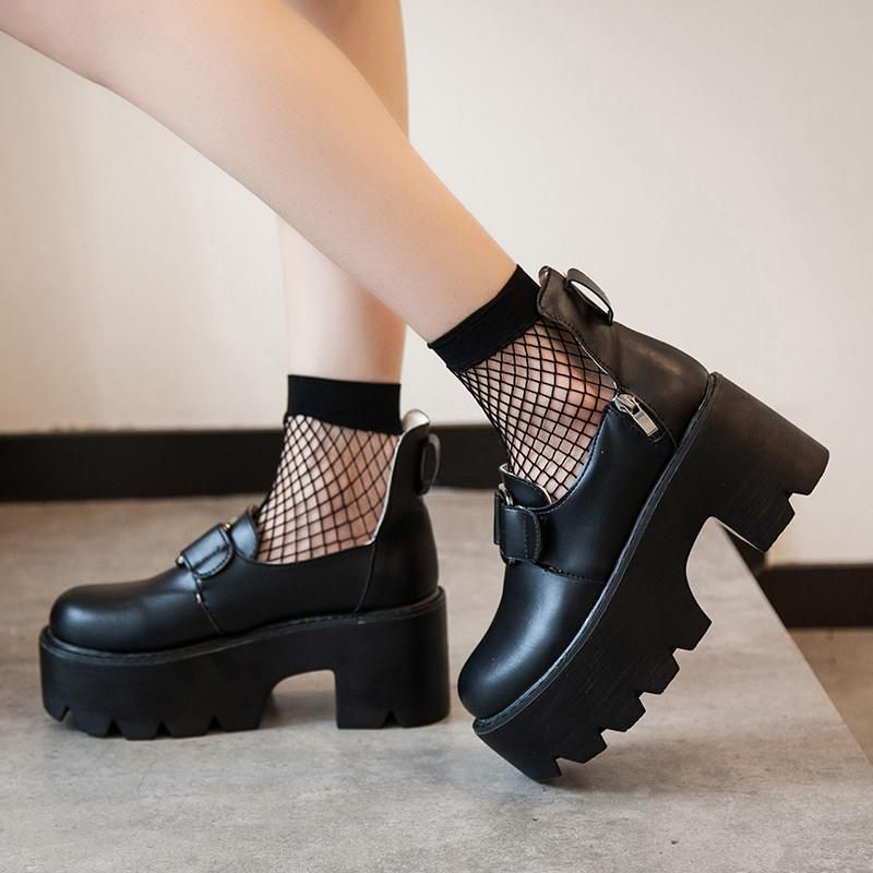 Black Double Straps Dolly Shoes SD02424