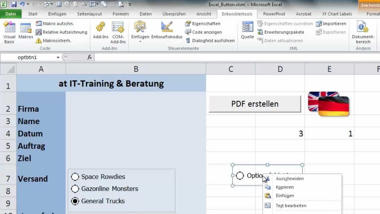 Excel Formulare Mit Optionsschaltern Excel Tipps Lernen Unterrichten