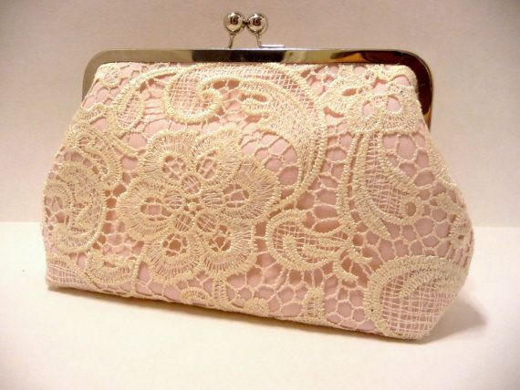 Bridal Clutch Pink and Ivory Lace Bridal Purse by HighCountryBride, $50.00
