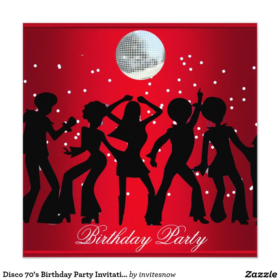 Disco 70\'s Birthday Party Invitation Red | 70\'S PARTY THEME ...