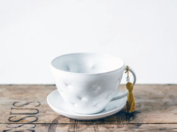 Delicate white ceramic cup and saucer, handmade and decorated with pillow effect- Valentine's gift