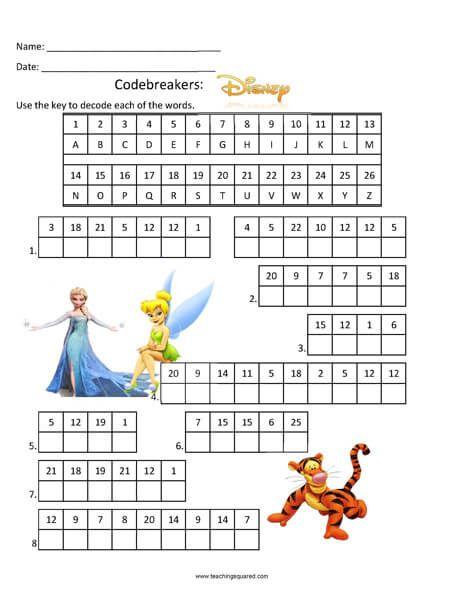 Codebreakers Disney Top Fun Activity Math Worksheets Christmas Math Worksheets Fun Worksheets Code breaking worksheets