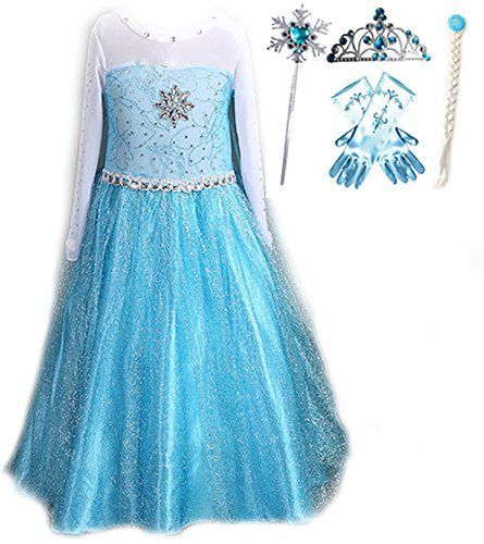 Blue Elsa Ice Queen Snowflake Party Princess Dress Up Set