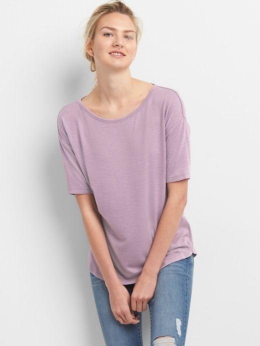 5f5b7264 Gap Women's Softspun Elbow-Length Sleeve Round Neck T-Shirt Purple ...