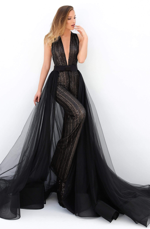 Tarik Ediz 93911 Sequined Deep V Neck Jumpsuit With Overskirt In 2021 Fancy Jumpsuit Fantasy Dress Queens Tarik Ediz Dresses [ 3000 x 1970 Pixel ]